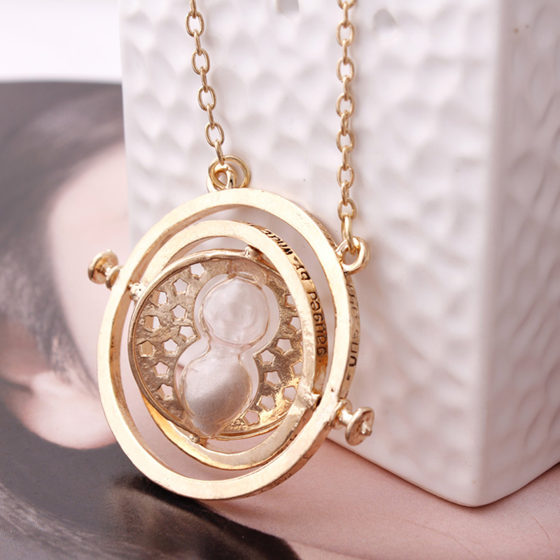 Nacklace fashion jewelry HARRY POTTER Time Turner big Necklace Hermione Granger Rotating Spins Gold Hourglass Statement Necklace(China (Mainland))