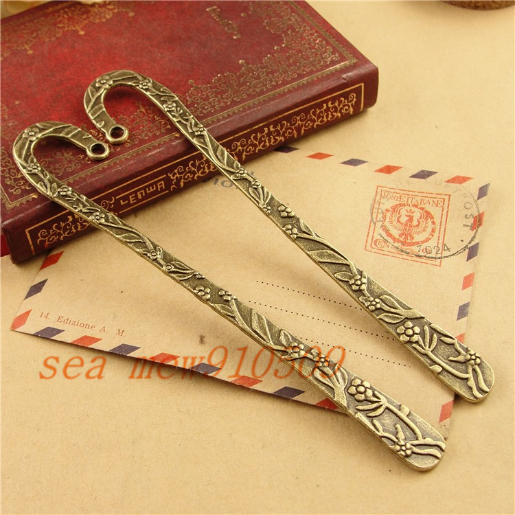 (20 pieces/lot) 11*119MM antique bronze plated vintage style metal zinc alloy flowers bookmarks hm294(China (Mainland))