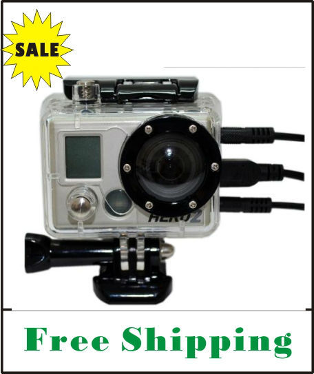On Sale FREE SHIPPING side open Skeleton Housing with Glass Lens for Gopro Hero1 Hero2