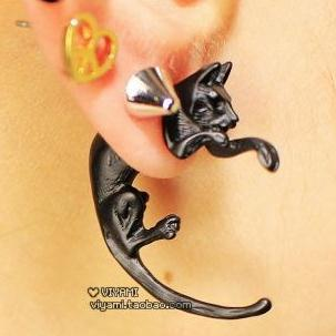 Korea stereo cat cute animal long tail piercing earrings male and female models earrings(China (Mainland))