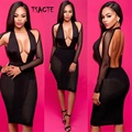 NEW Black Sexy Club Dress 2016 Women Summer Party Dresses Cut Out Bodycon Dress Halter Backless