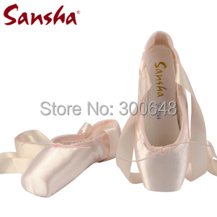 ON SALE, Sansha Satin Professional  Ballet Pointe Dance Shoes With Ribbons, US size means Sansha size here,(China (Mainland))