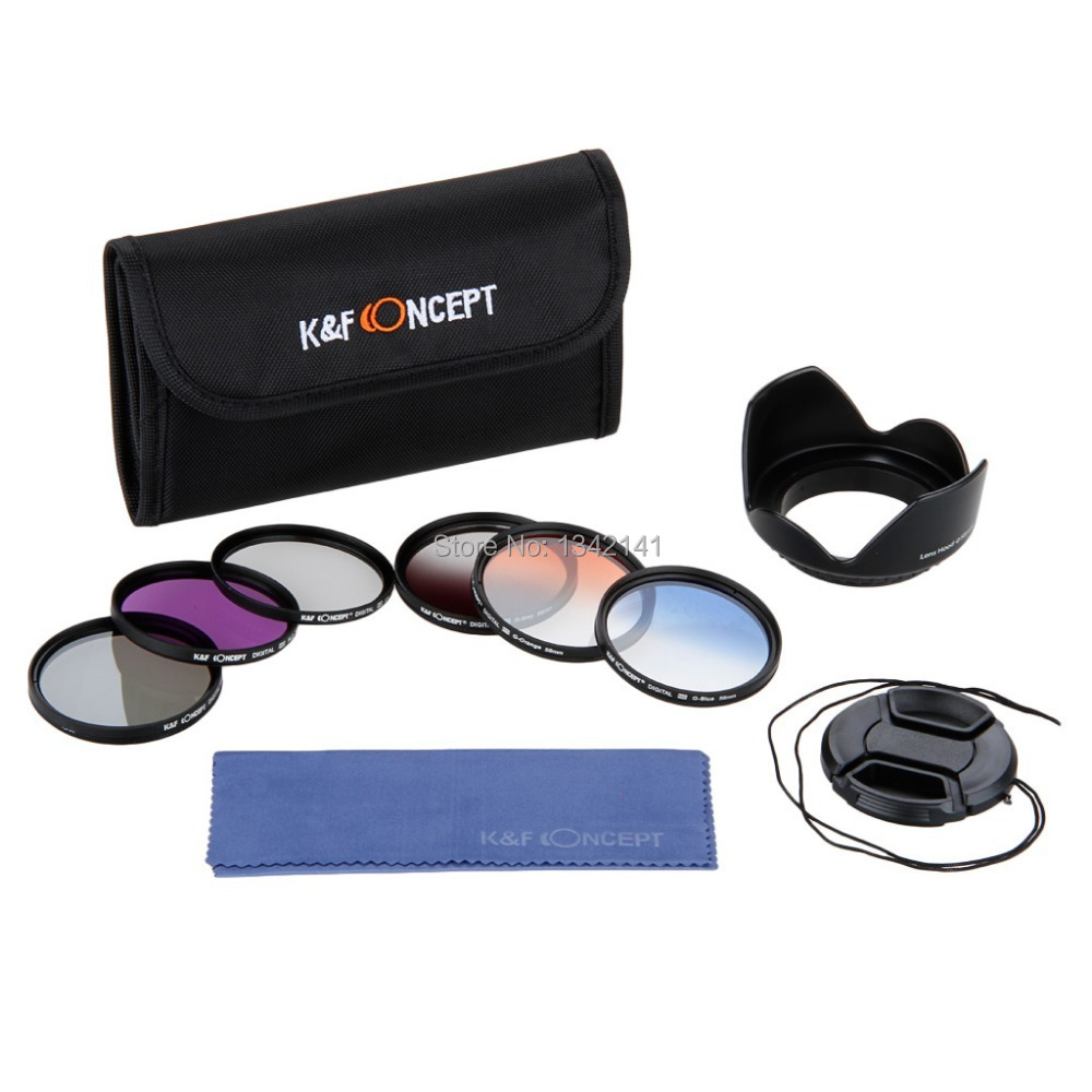 K&F Concept 58mm UV+CPL+FLD Filter Kit 3PCs Blue,Orange,GreyGraduated Color With Lens Hood+Cap+Cleaning Cloth For Nikon(China (Mainland))