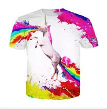 2016 T shirt Men Summer Mens Fashion Unicorn Vomiting Rainbow SPEW 3D Printed cartoon Tshirt Casual Short Sleeve Men Tee Shirts