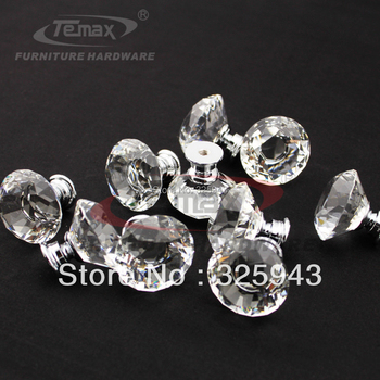100pcs/lot Clear zinc glass crystal  decorative kitchen drawer dresser door cabinet  knobs and handles pulls fedex free shipping