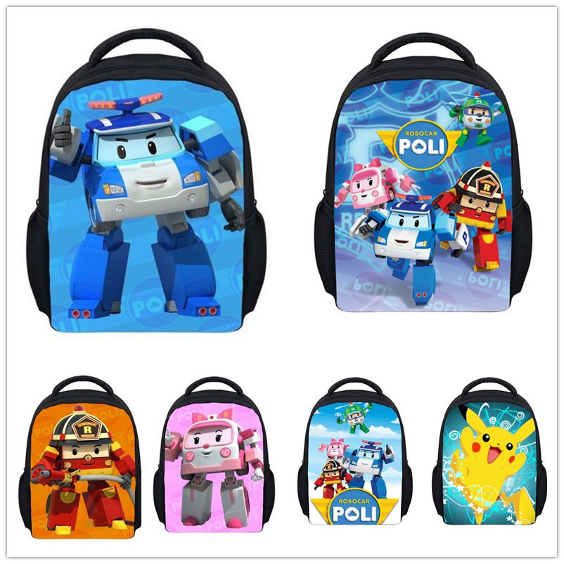 New 12'' Cartoon Robocar Poli Backpack for Baby Girls,Boys Mochila School Kids Backpack Child Mini Bags,Robocar Bagpack Infantil(China (Mainland))