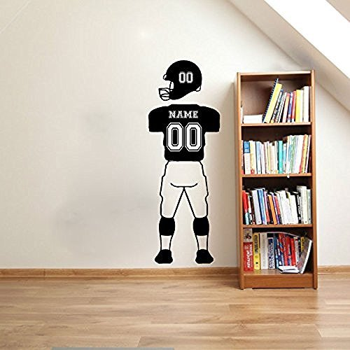 Custom NAME & NUMBERS Football Player Wall Decals Sports Jersey Uniform Pants and Helmet Vinyl Wall Stickers For Kids Room A192(China (Mainland))