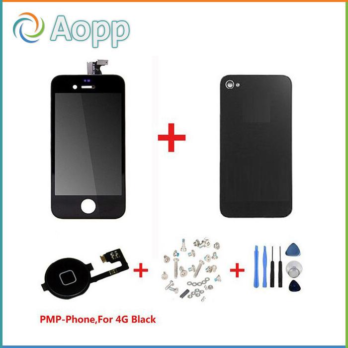 Черный Сенсорный экран + ЖК-дисплей Дигитайзер + стекло задняя крышка корпуса + кнопка Home замена части для iPhone 4 &винт инструменты