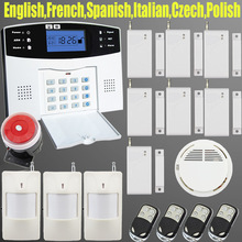 LCD Keyboard Wireless SMS Home GSM Alarm systems House intelligent auto Burglar Door Security Alarm System kit+Smoke detector(China (Mainland))