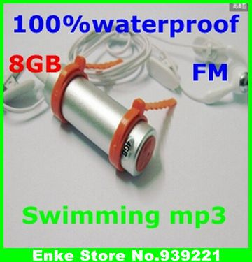 2pcs WaterProof Mp3 Player IPX8 Water Proof Swimming Sport MP3 Player With 8GB FM Radio Free Shipping(China (Mainland))
