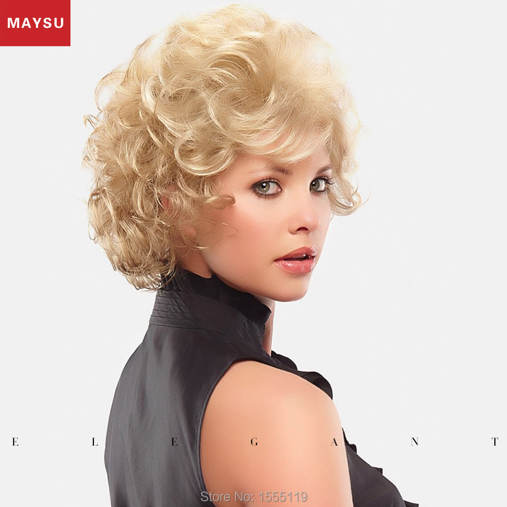 MAYSU Prevailing Glueless Lace Front Human Hair Wig Multicolor Optional Medium Curly Virgin Hair Lace Wig Can Be Customize<br><br>Aliexpress