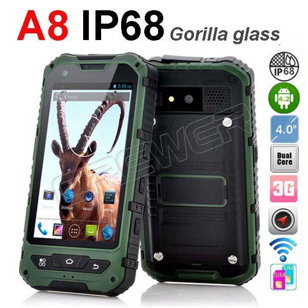 Original IP68 Rugged Smartphone A8 Waterproof Phone Dustproof Shockproof GPS 3G
