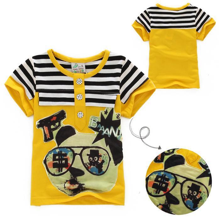 Il tessuto è molto buona elasticità bambini vestiti delle ragazze dei ragazzi di estate magliette moda bambini lettere manica corta shirt top bambini(China (Mainland))