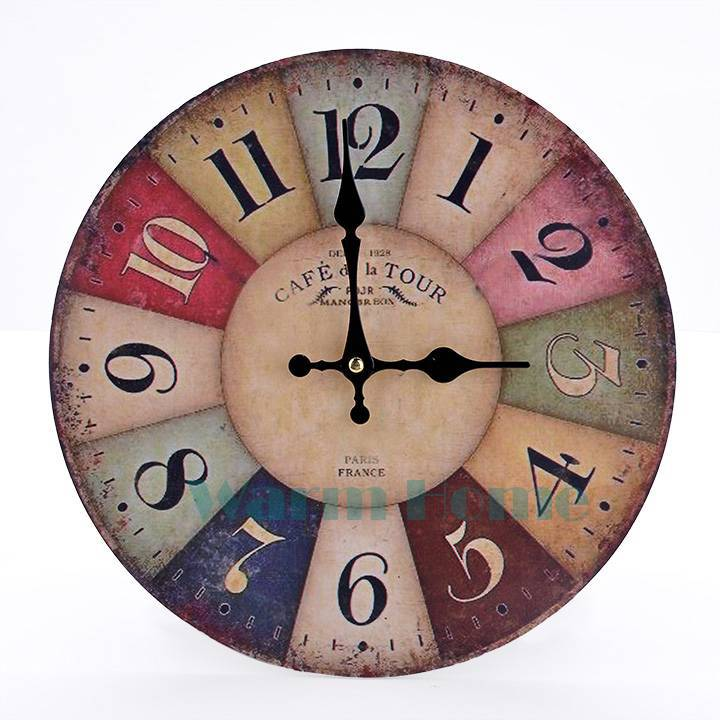 Cheap Free shipping retro design classic vintage Colorful Big Number Clock home decorative antique wooden wall clock SV006826 3F(China (Mainland))