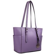 Plain Purple Women PU Leather Material Large A4 Books Folders Shoulder Handbag Tote Hand Bag(China (Mainland))