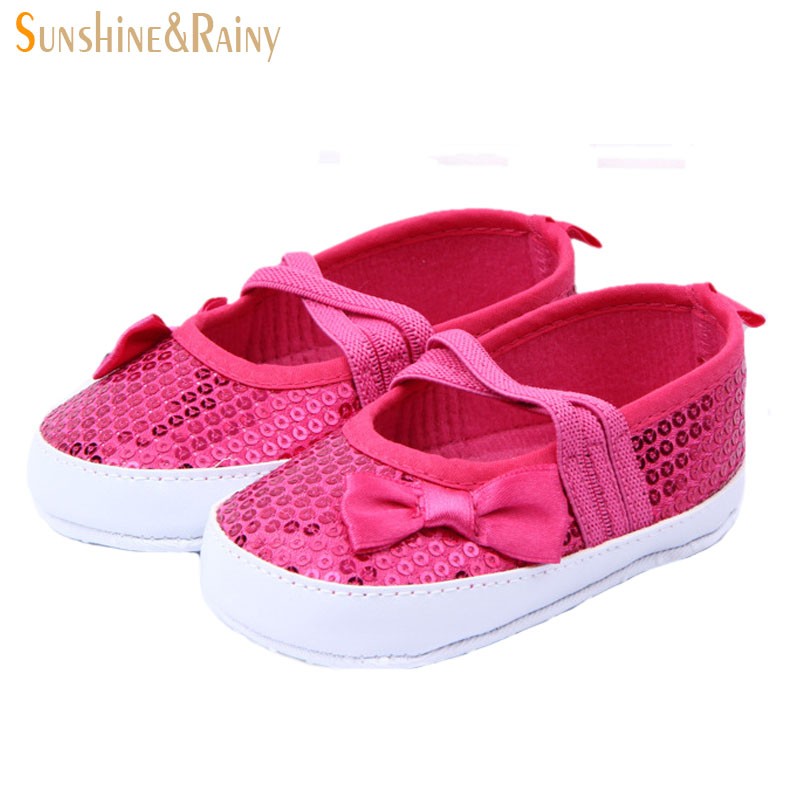 2016 Summer cross elastic band design baby shoes with a bow baby girl toddler glitter sequins dance shoes brand shoes for kids(China (Mainland))