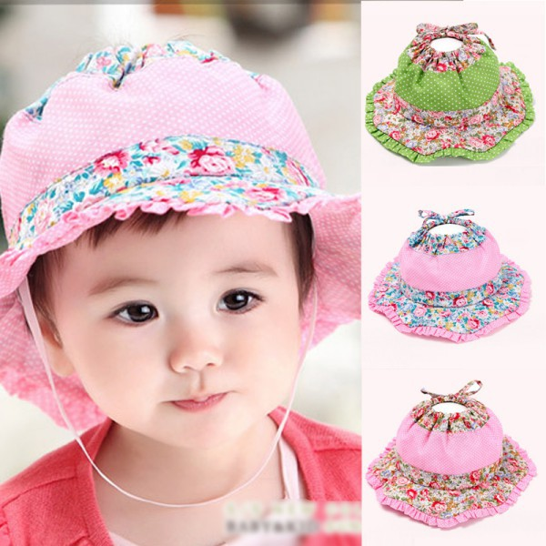 Infants Baby Cool Round Floral Bucket Hat Ear Flaps Hat Outdoor Beach Sun Cap(China (Mainland))