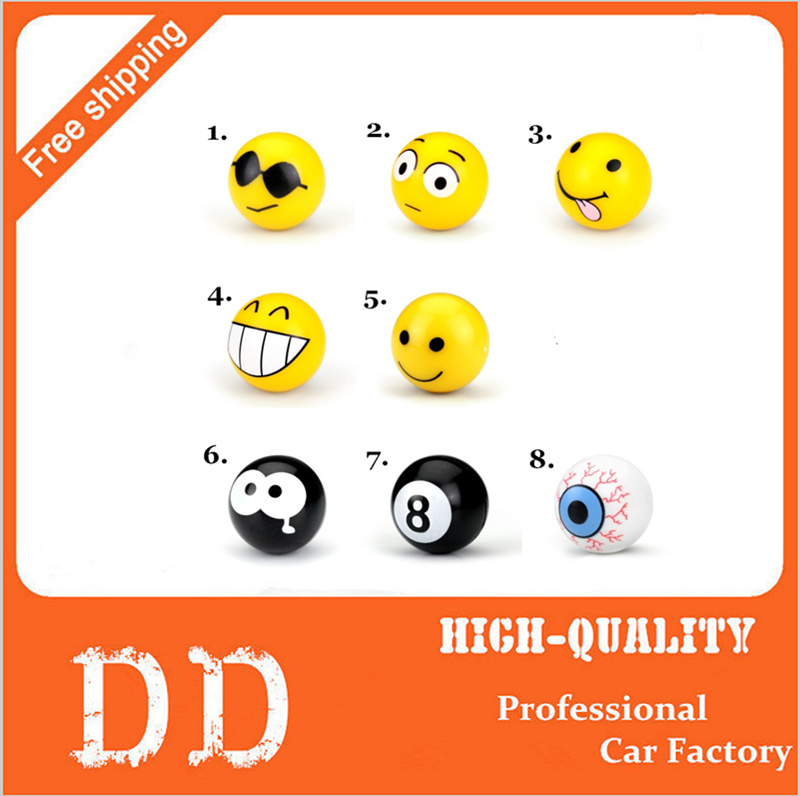 4pcs/set Funny Smile Metal Car Wheel Air Valve Covers Stickers Emblems Decoration Personalized Car Valve Core Cap Badges Styling(China (Mainland))