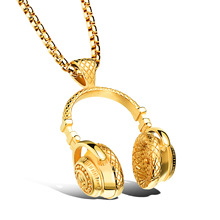 2017 New Jewelry Fashion New Style Hip Hop Pendant 18K Gold Plated Mens Dog Tag Bling Bling Hip Hop Chain Necklace(China (Mainland))