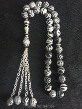 2016 New item Black White Islamic 33 Prayer Beads 8mm Round beads Tasbih Allah Rosary - Guangzhou Amber Jewelry Co.,Ltd store
