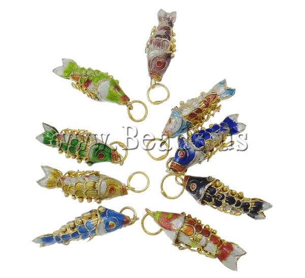 Free shipping!!!Cloisonne Pendants,australian, Fish, mixed, 9x29x9mm, Hole:Approx 5mm, 10PCs/Bag, Sold By Bag(China (Mainland))