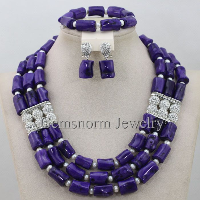 Purple African Coral Beads Bridal Jewelry Set Purple Coral Beads Nigerian Wedding Necklace Jewelry Set Free Shpping CNR374<br><br>Aliexpress
