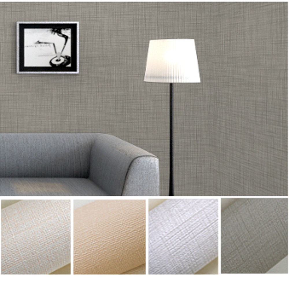 Solid color linen textured vinyl wallpaper home decor modern grass cloth wall paper for bedroom & living room White/Grey/Beige(China (Mainland))