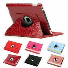360 Degree Rotating Swivel Crocodile Pattern Stand PU Leather Smart Case Cover for iPad 4 3 2 (10 colors option)(China (Mainland))