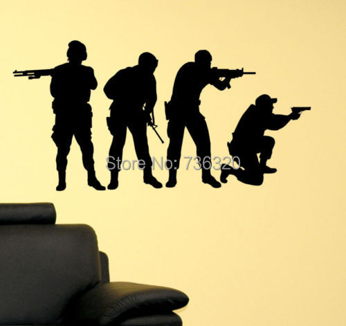 Military SWAT Team Army Men Soldier Kid Room Decor Vinyl Wall Decal Soldiers Gunfignt Mural Art Sticker Bar Home Decoration - 365DAYS SWEET HOME (HOME Artist-Vicky Li store)