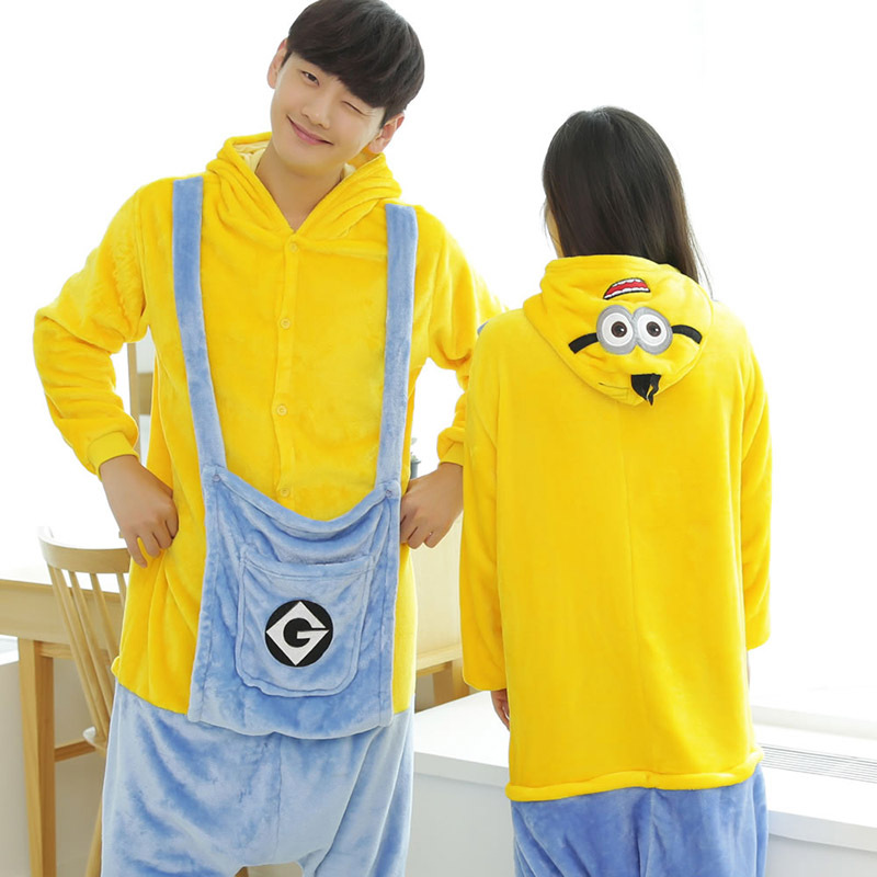Adult Unisex Flannel Despicable Me Onesies Minion Costume Couple Cartoon Cosplay Pajamas Party Halloween Costumes Men Women(China (Mainland))