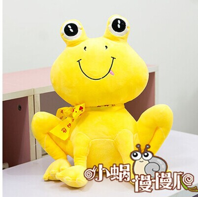 small Squating cute plush cartoon frogs toy creative bow frog doll about 35cm yellow(China (Mainland))