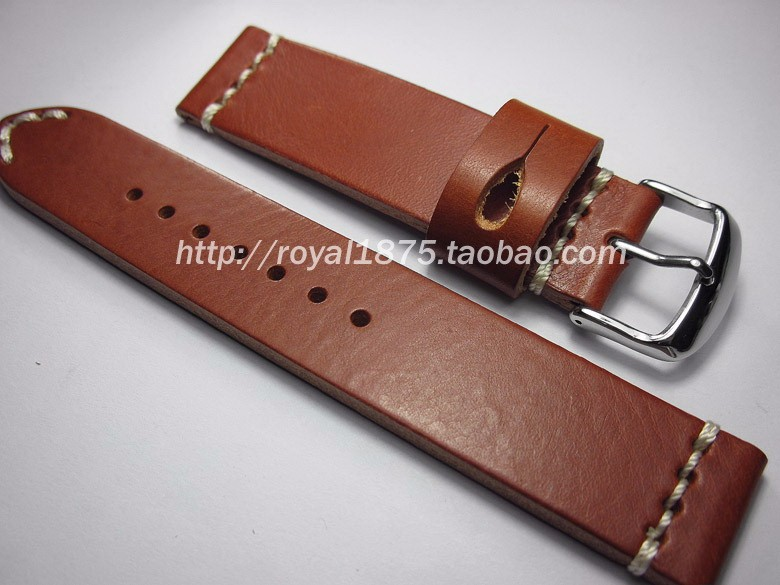 New arrivals 20mm genuine leather bracelet watchband with stainless steel buckle handmade Brown watch strap accessories