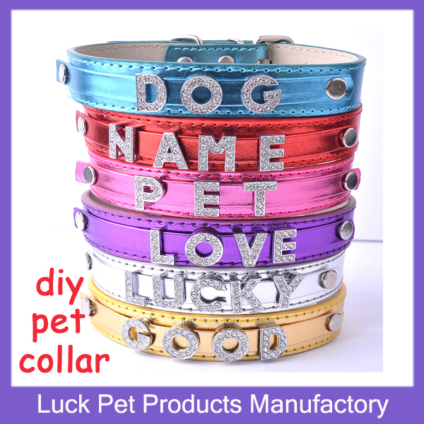 MOQ 1 piece Luck Pet Products Cute Personalized Diy Pet Cat Collars Customized Dog Collars with free rhinestone letters JP039A(China (Mainland))