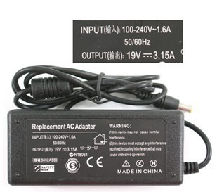 Free shipping 19v 3.15a ac dc adapter  for SAMSUNG   connector 5.0 needle