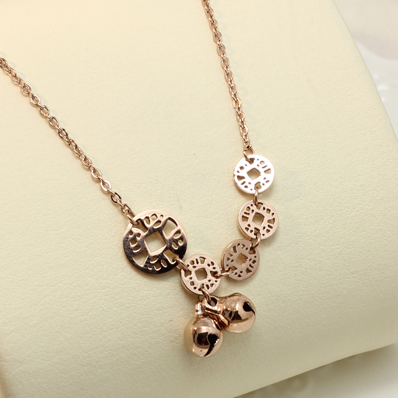 Ancient Coins Little Bells Choker Necklace 2015 New Arrilval Titanium Steel Rose Gold Plated Woman Jewelry Gift Free Shipping(China (Mainland))