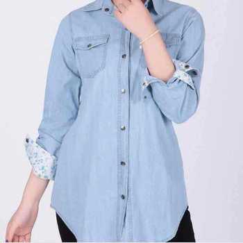 Женщины джинсовые рубашки блузки с длинным рукавом твердые Blusa Feminina ренда свободного покроя леди одежда Blusas Mujer Большой размер XXL голубой