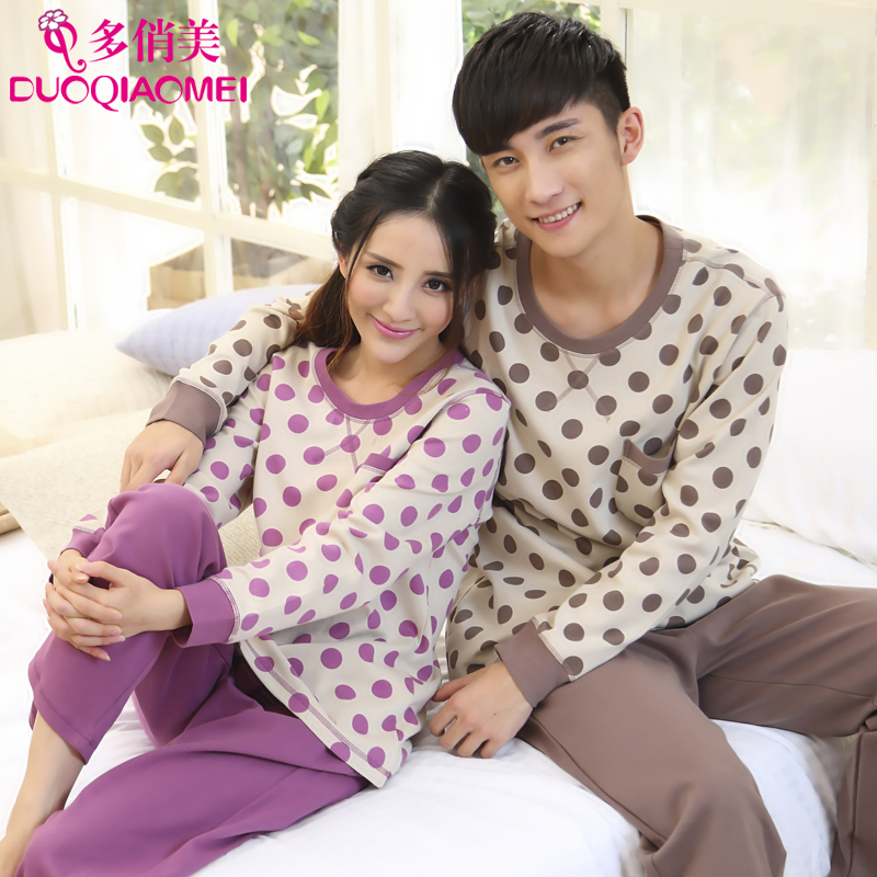 People lovers sleepwear sweet women's long-sleeve autumn winter cotton 100% male casual lounge set - LL fashion show store