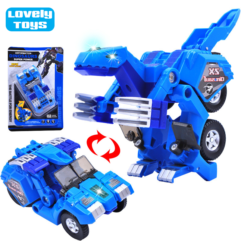 Transformation Robots Action Figures Toy Gift for Children - Dinosaur Deformation Car Models with Light and Music Retail Package(China (Mainland))