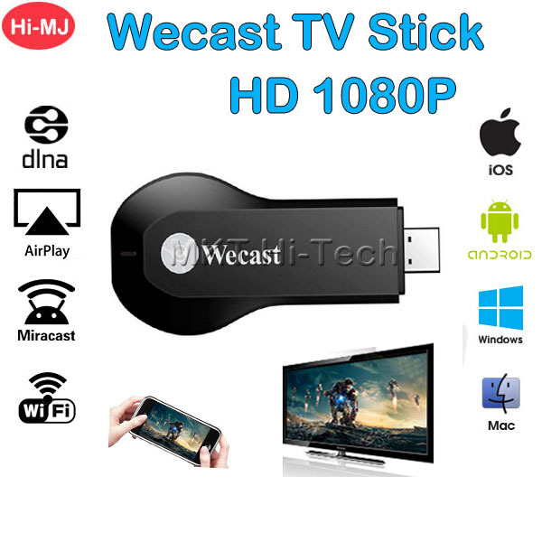 Wecast WiFi Display Receiver Adapter DLNA AirPlay Miracast Dongle Streamer HDMI 1080P Smart TV Stick for Mac iOS Windows Android(China (Mainland))