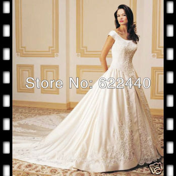Free Shipping Popular Cap Sleeves Satin Lace Applique Noble Bridal Wedding Dresses Floor Length