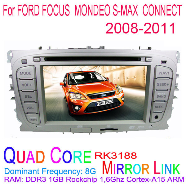 1024*600 Quad Core Android 4.4.4 Fit FORD FOCUS, MONDEO , S-MAX, CONNECT 2008 2009 2010 2011 Car DVD Player GPS TV 3G Radio(China (Mainland))