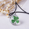 2016 Hot Fashion Crystal glass Ball Clover Necklace Long Strip Leather Chain Pendant Necklaces Women Lucky