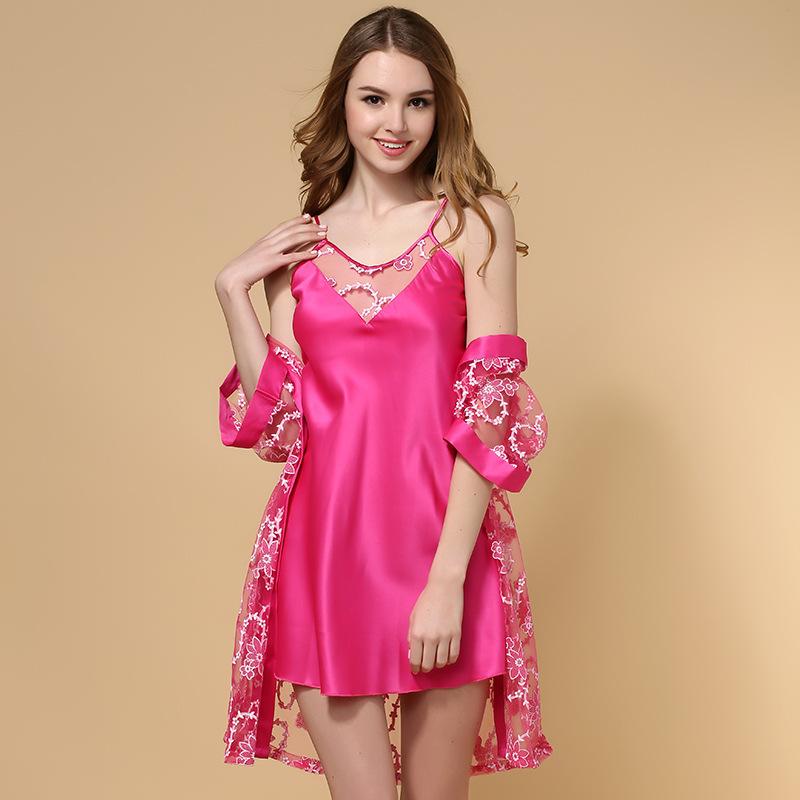 2015 sexy women pajamas two-piece set long type silk fabric women sleepwear night lace sexy women robe and gown sets(China (Mainland))