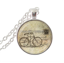 fashion jewelry bicycle necklace,bike pendant letter choker necklace art image glass dome necklace charm women jewelry gifts(China (Mainland))