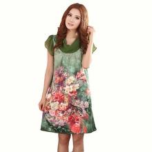 2015 New Arrival Fashion Short Sleeves Dress,Women Dress Printed,New Design Female Purple Graceful Silk Dress For Ladies(China (Mainland))