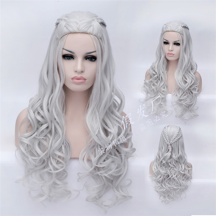 New Arrival Movie Game of Thrones Daenerys Targaryen Wig Long Wavy Silver White Color Cosplay Costume Wigs<br><br>Aliexpress