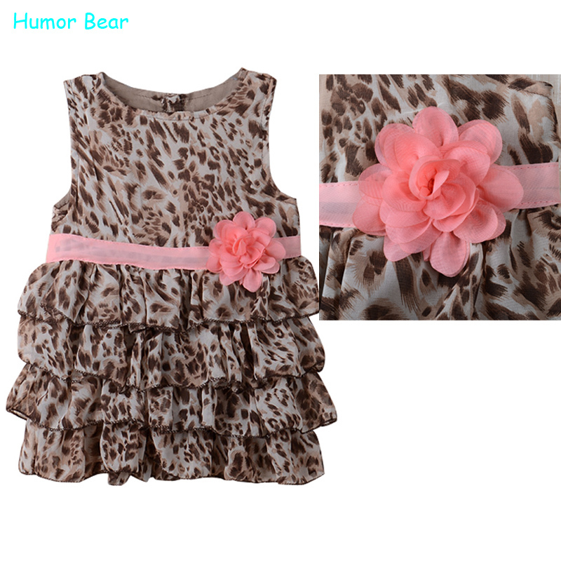 Humor Bear Fashion summer baby girl's leopard print short-sleeve dress cute Children's dresses clothing - official store