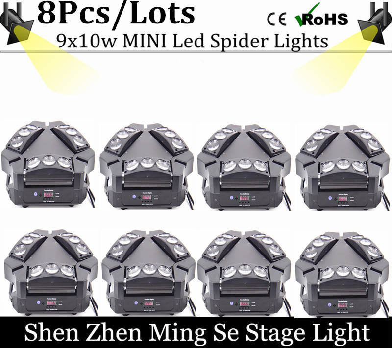 8units 2017 NEW Product Mini LED Stage Light 9 Eyes 10W RGBW Spider Beam Light Infinite Rotation Sueper Beam Light 150W(China (Mainland))