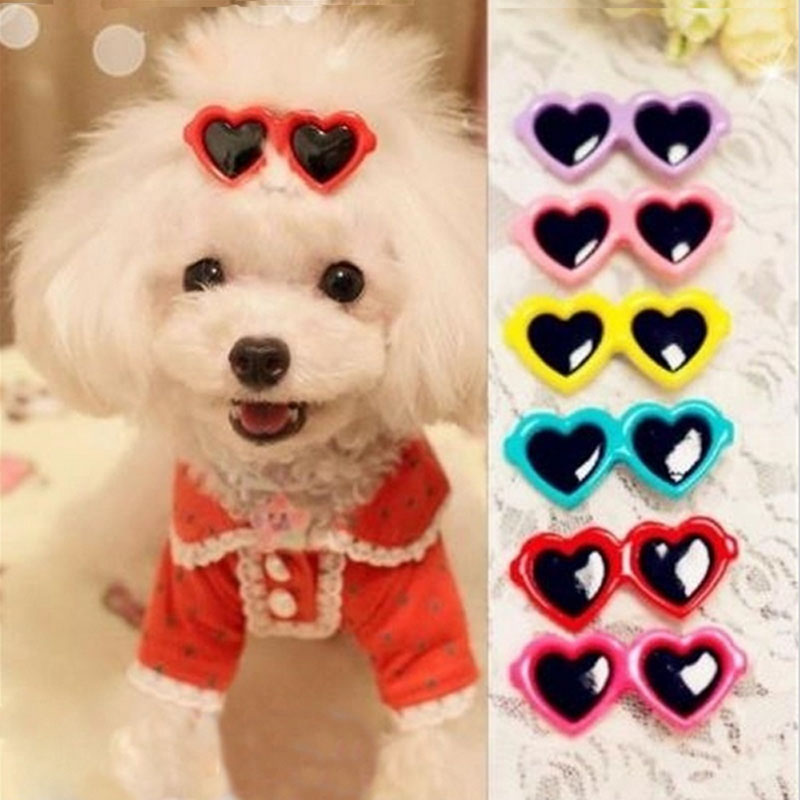 Random Color! 2Pcs Fashion Style Pet Dog Bows Dog Accessories Love Glasses Design Pet Dog Hair Bows Pet Grooming Products ZHH227(China (Mainland))