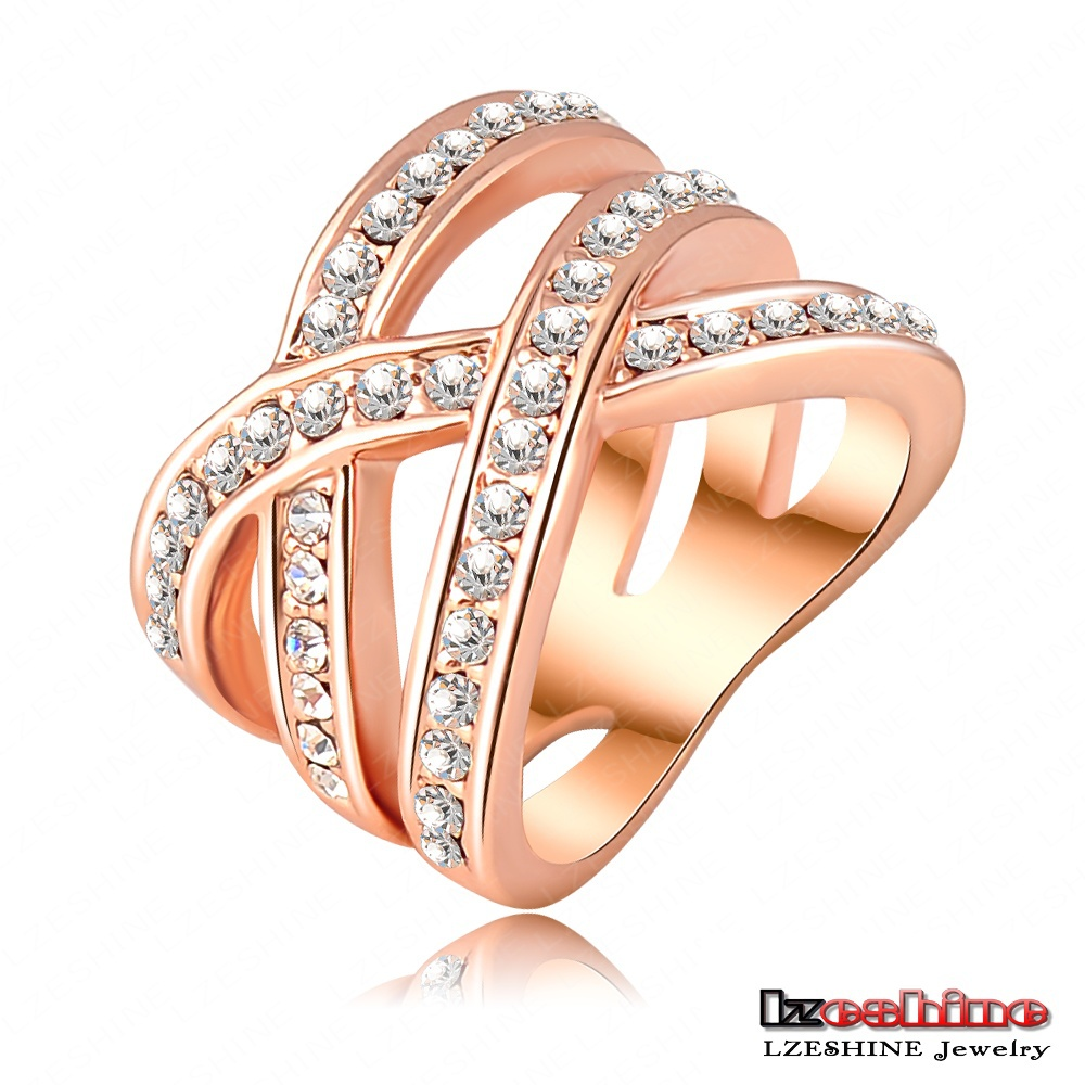 2015 Fashion Summer Jewelry Punk Ring 18K Rose Gold Platinum Plated Austrian Crystals Women Rings Jewelry